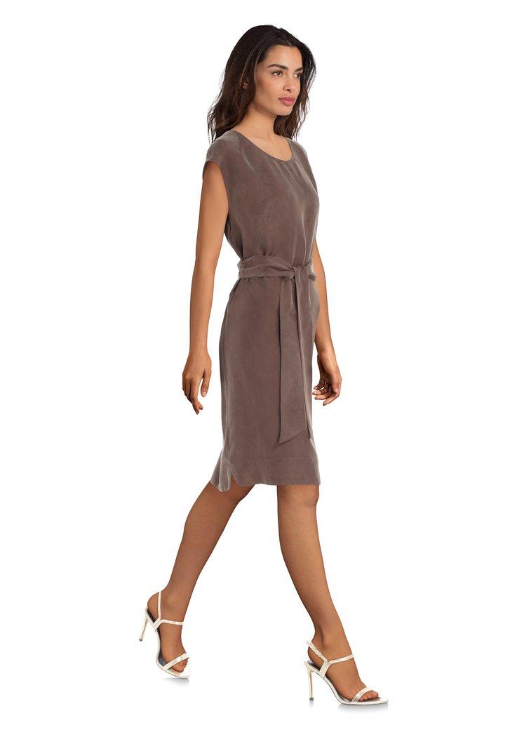 427b1c9845e4f6 Bruine jurk met cupro