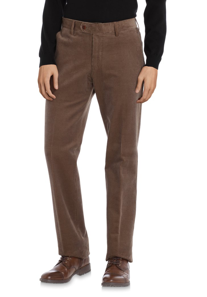 Bruine ribfluwelen chino – Vancouver – regular fit
