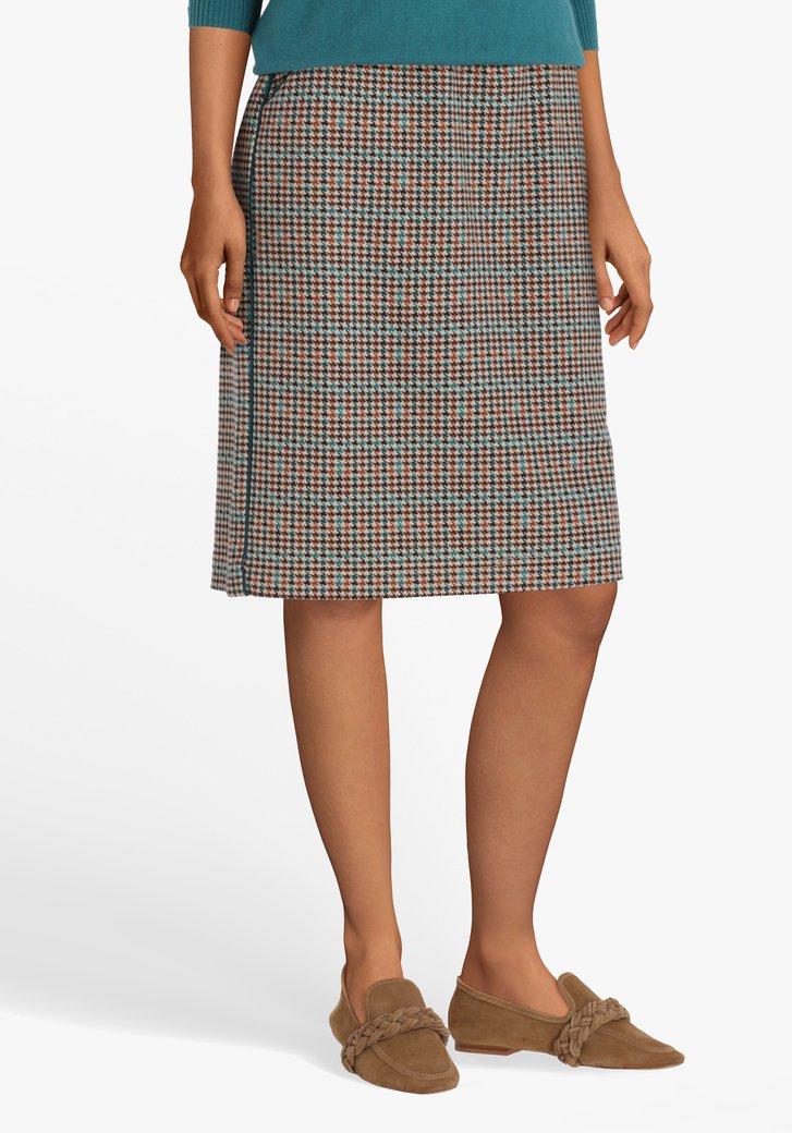 Bruine rok met pied-de-poule en elastische taille