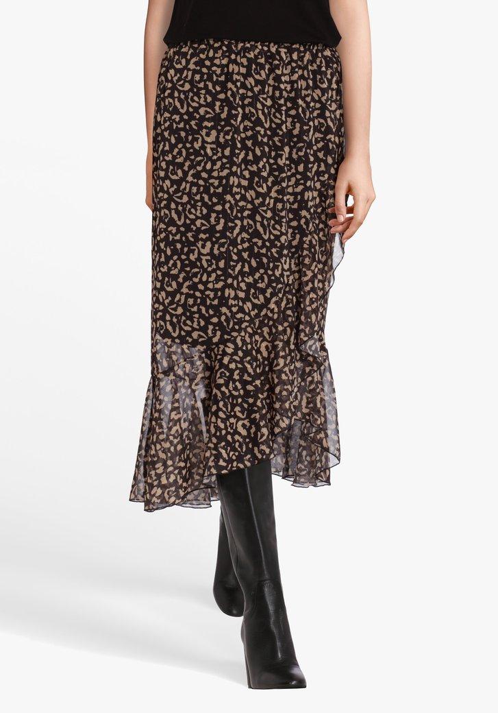 Bruine rok met print en glitterdraad
