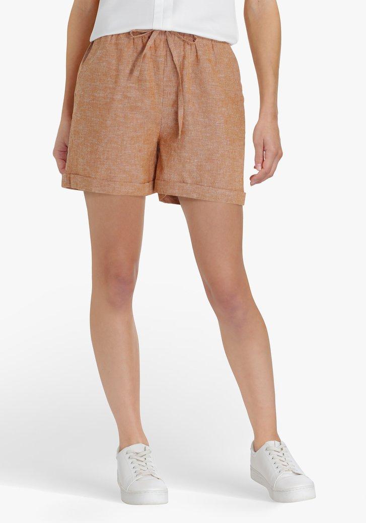 Bruine short in linnen en katoen
