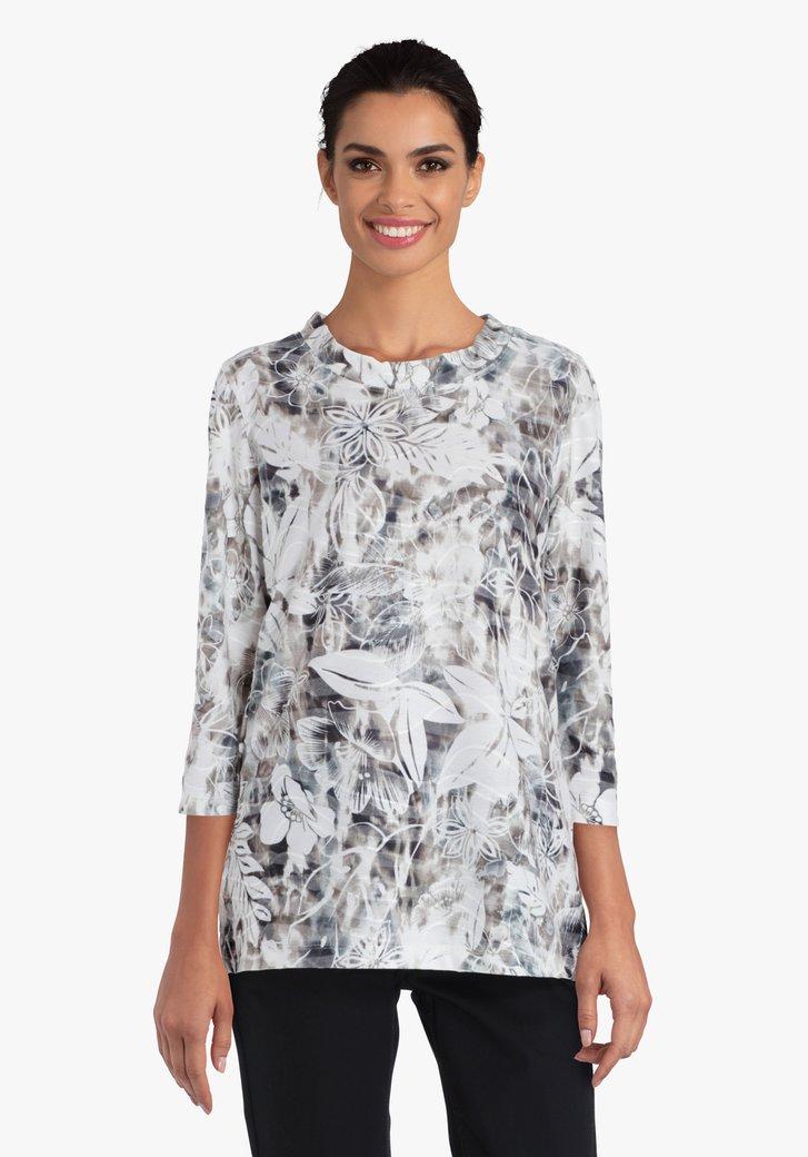 Bruine T-shirt met witte bloemenprint