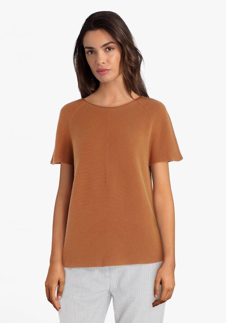 Bruine trui met korte mouwen