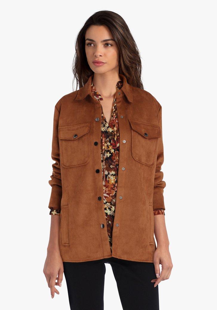 Bruine vest in suède