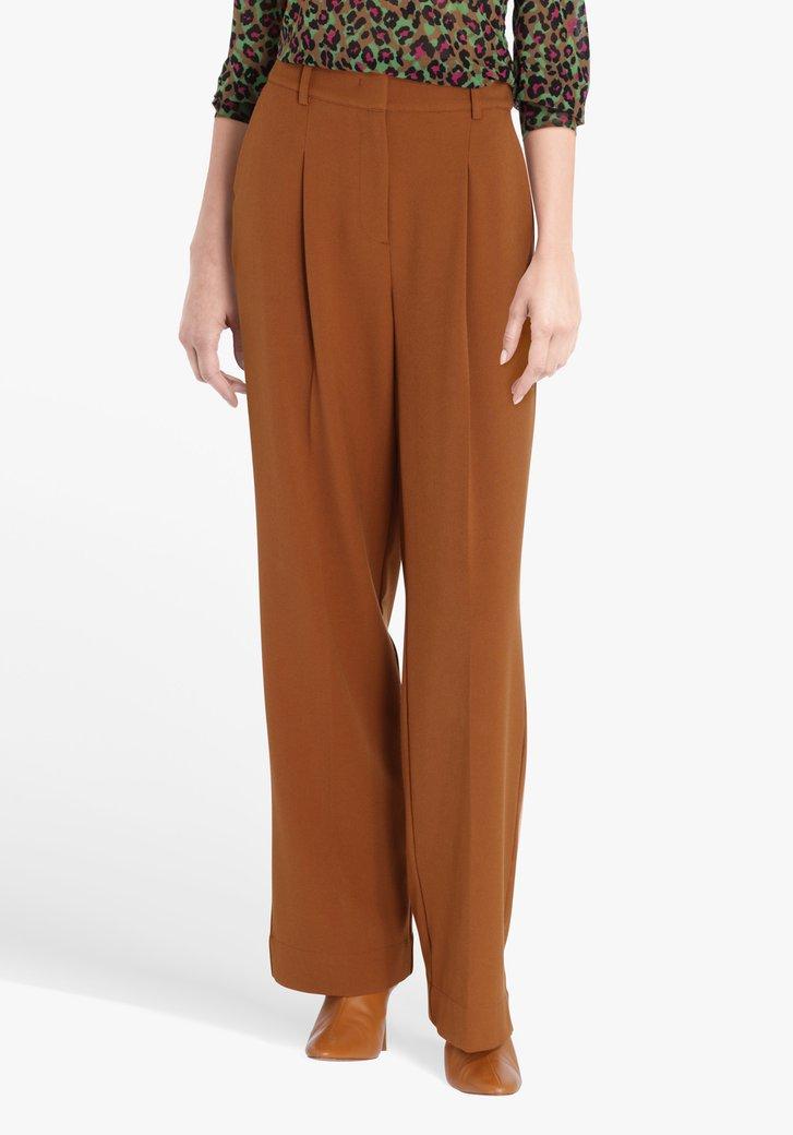 Bruine wijde broek met plooien - straight fit