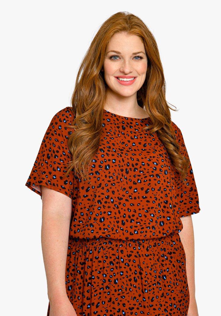 Bruinrode blouse met luipaardprint