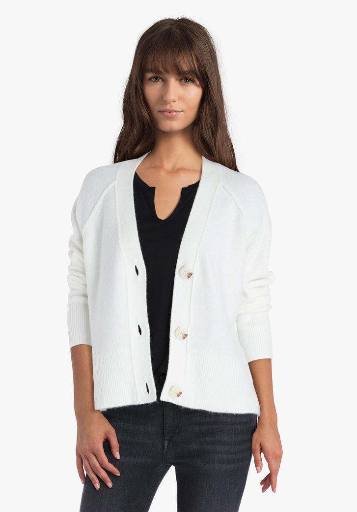 Cardigan blanc en tricot avec col en V