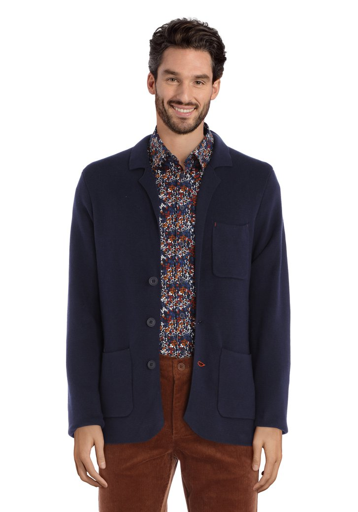 Cardigan bleu marine en coton stretch
