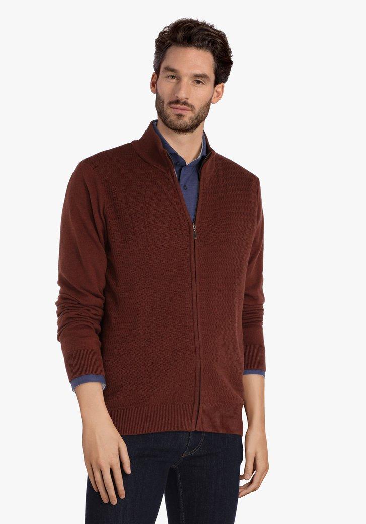 Cardigan brun foncé avec tissu texturé