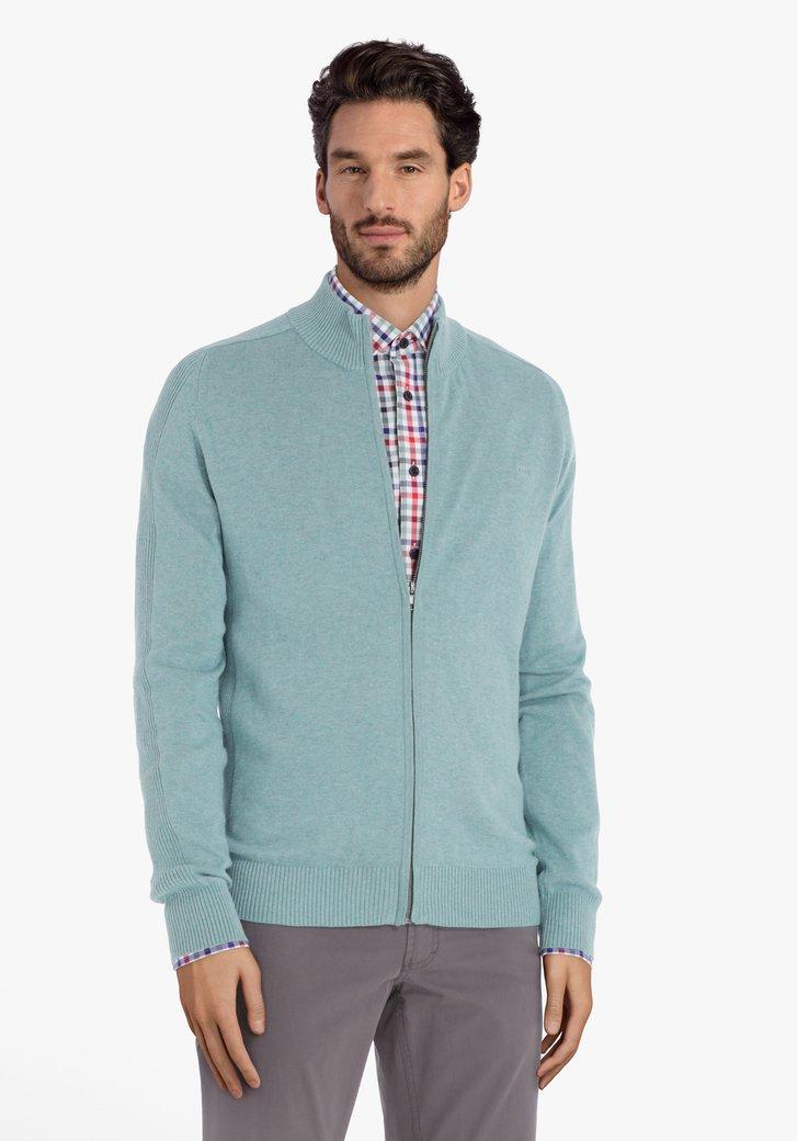Cardigan en coton bleu clair à tirette