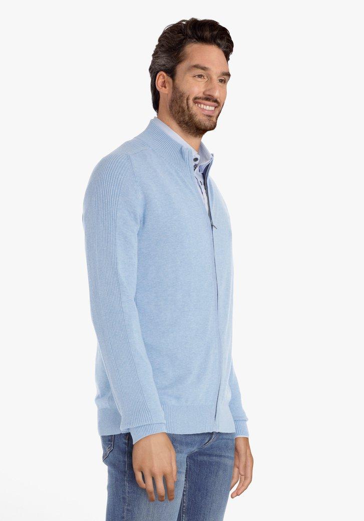 Cardigan en coton bleu clair avec tirette
