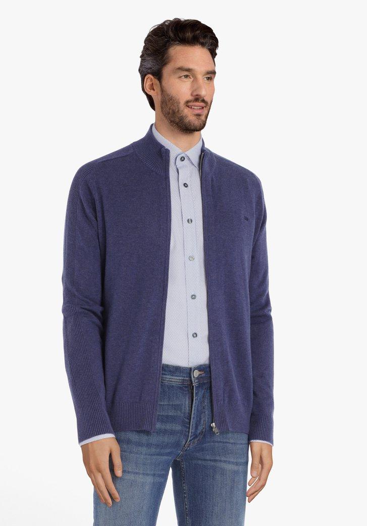 Cardigan en coton bleu foncé à tirette
