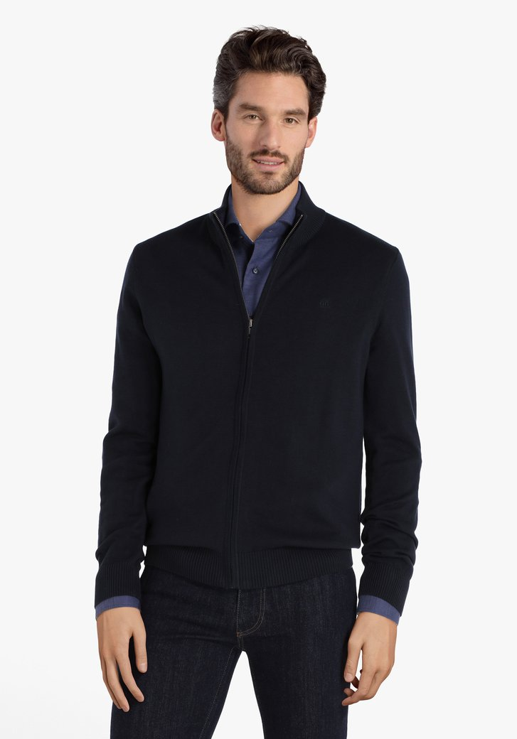 Cardigan en coton bleu foncé avec col
