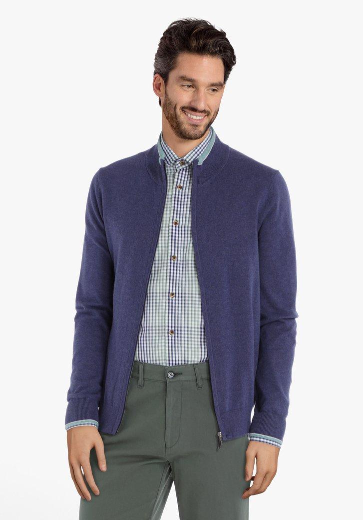 Cardigan en coton bleu foncé avec tirette
