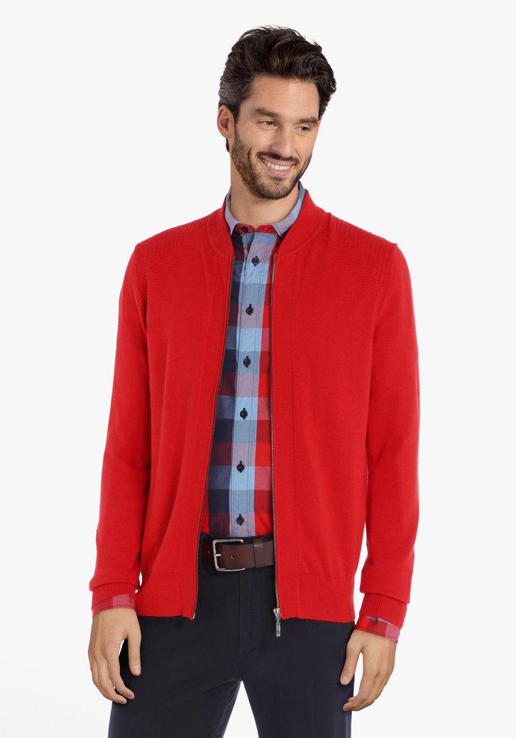 Cardigan en coton rouge avec tissu texturé