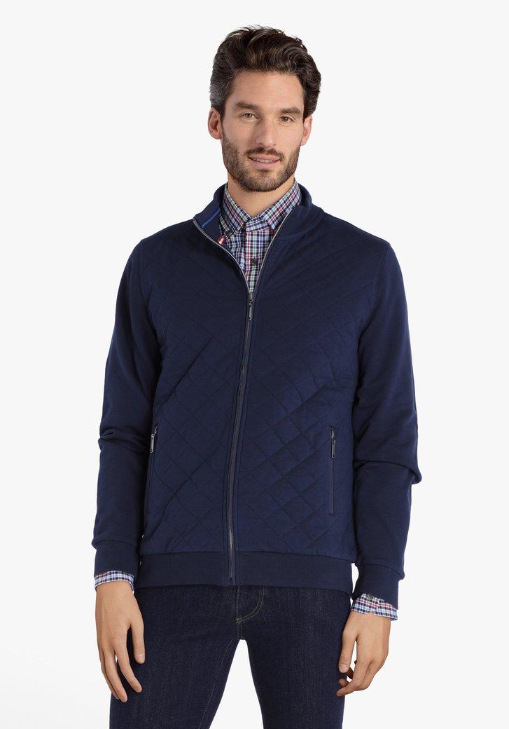 Cardigan en coton texturé bleu foncé