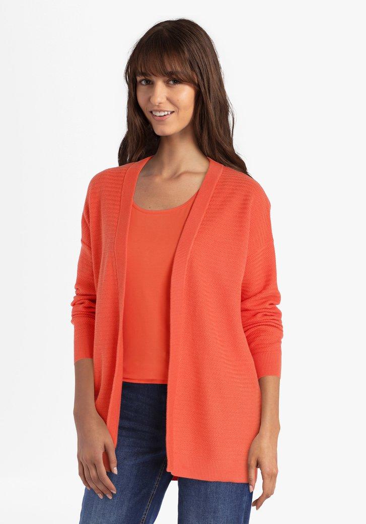 Cardigan en coton texturé orange