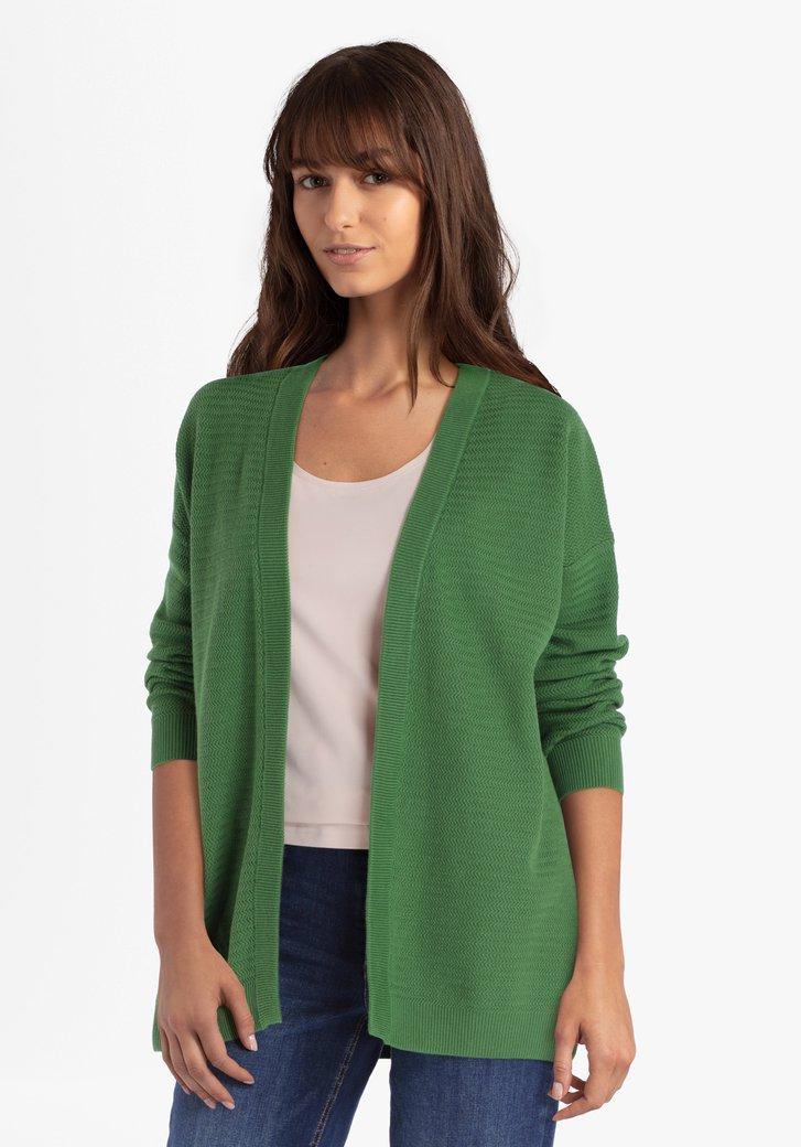 Cardigan en coton texturé vert olive