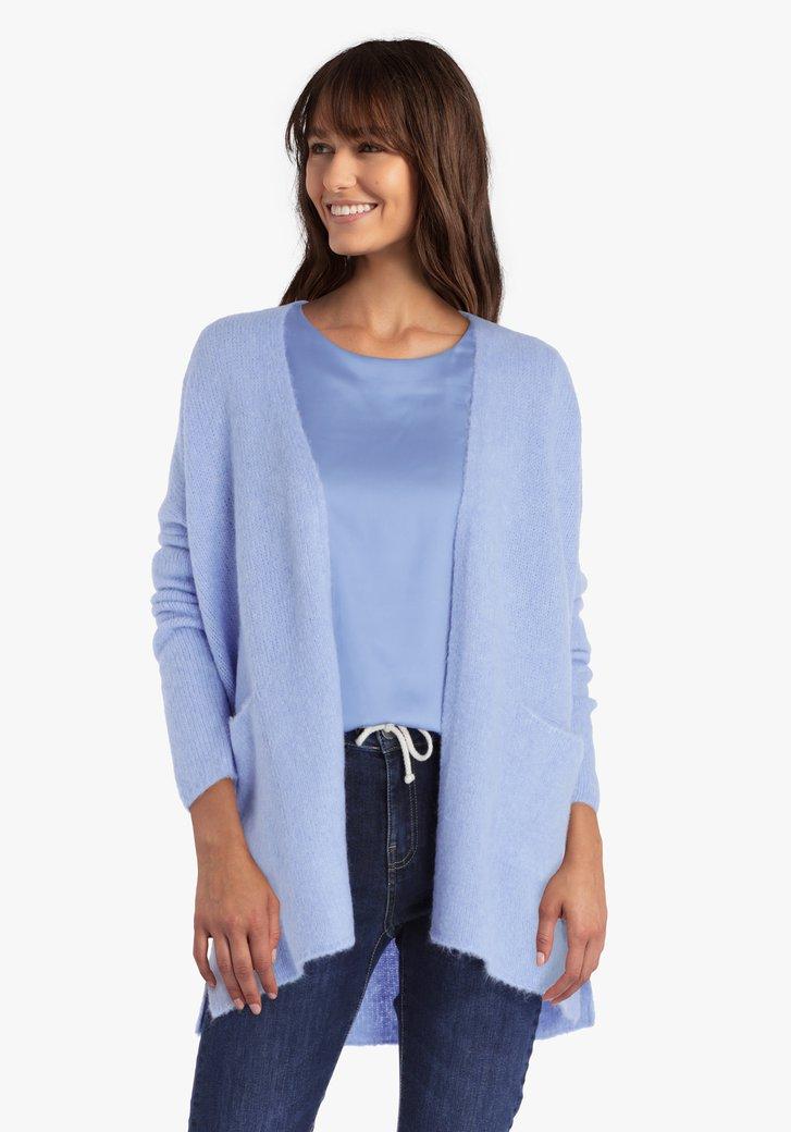 Cardigan en tricot bleu acier