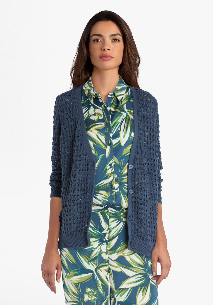 Cardigan en tricot bleu-vert