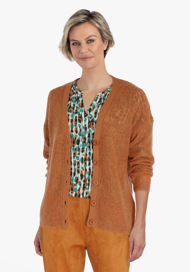 Cardigan en tricot brun rouille