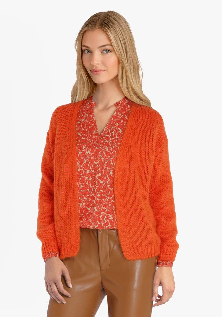 Cardigan en tricot orange
