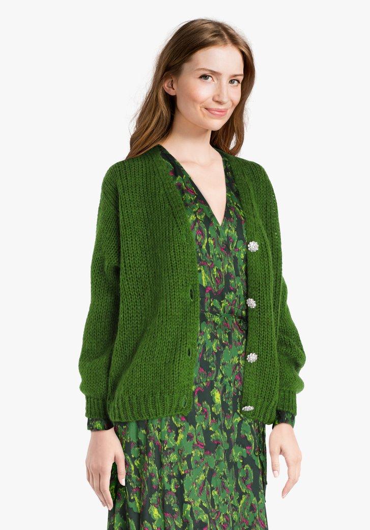 Cardigan en tricot vert à boutons détaillés