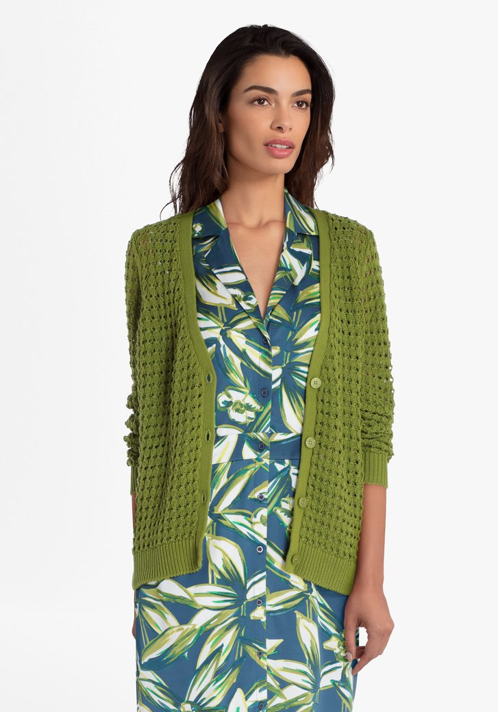Cardigan en tricot vert olive