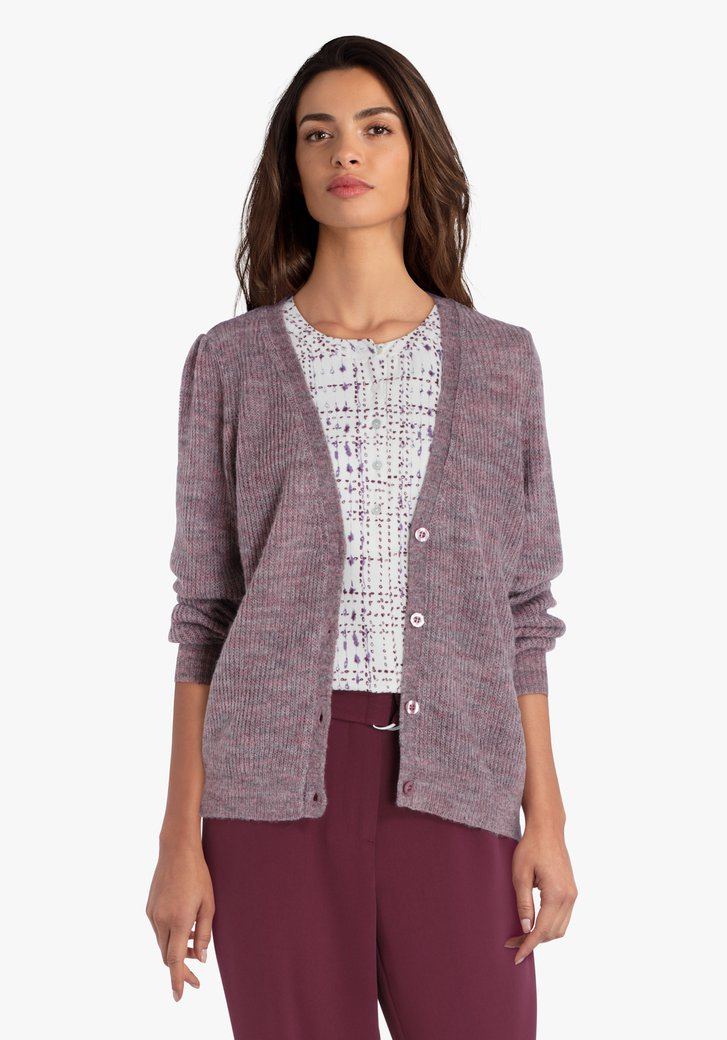 Cardigan en tricot violet