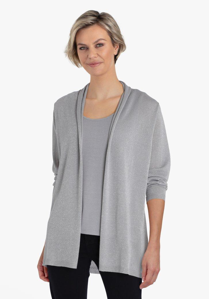 Cardigan gris clair avec fil pailleté