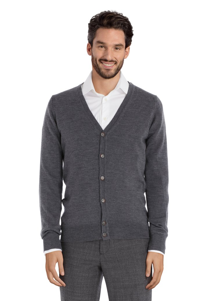 Cardigan gris en laine mérinos