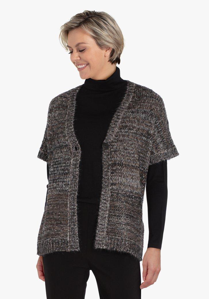 Cardigan gris en tricot à manches courtes