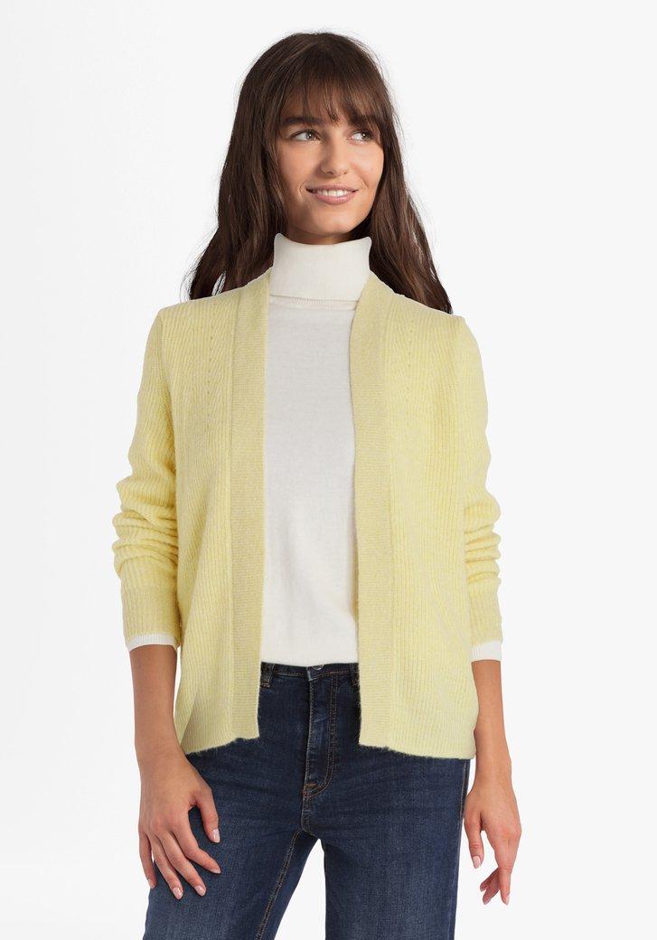 Cardigan jaune clair avec fil à pailleté