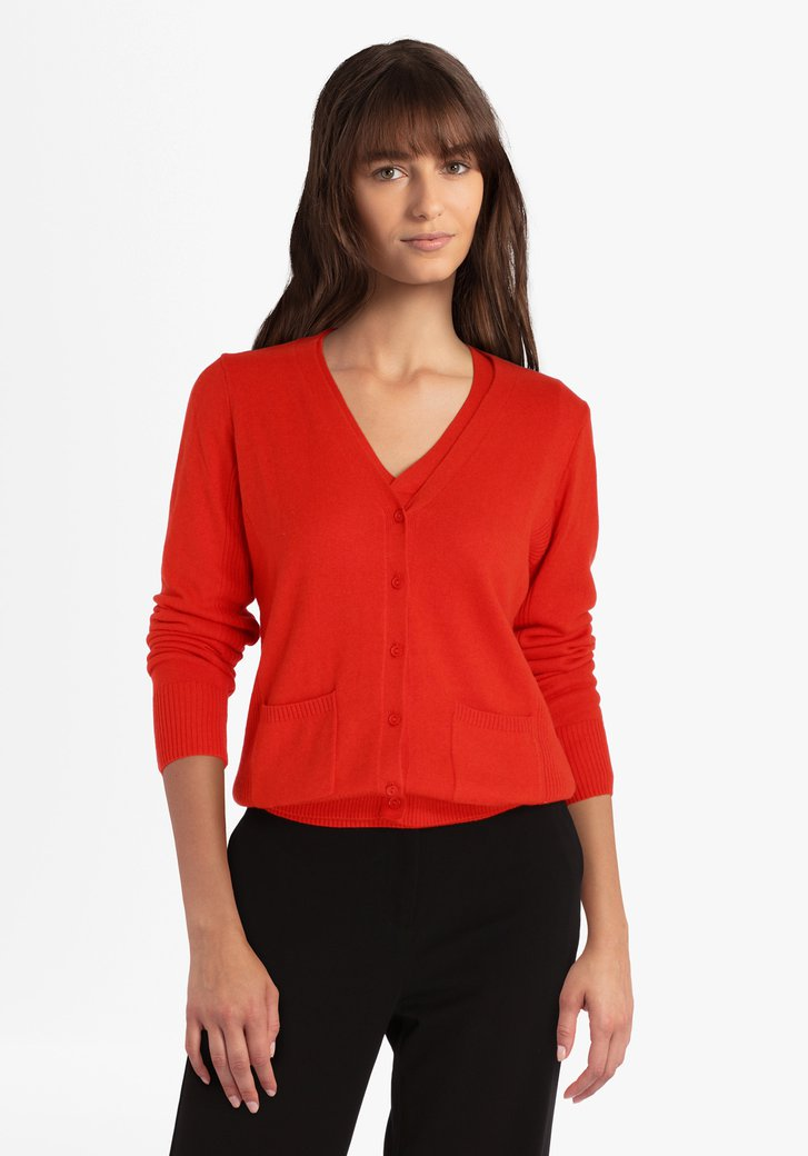 Cardigan orange-rouge avec laine