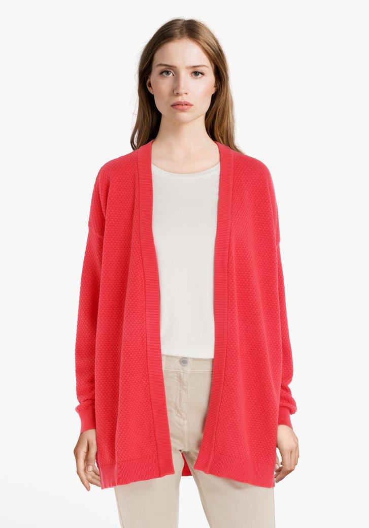 Cardigan rouge en tissu structuré
