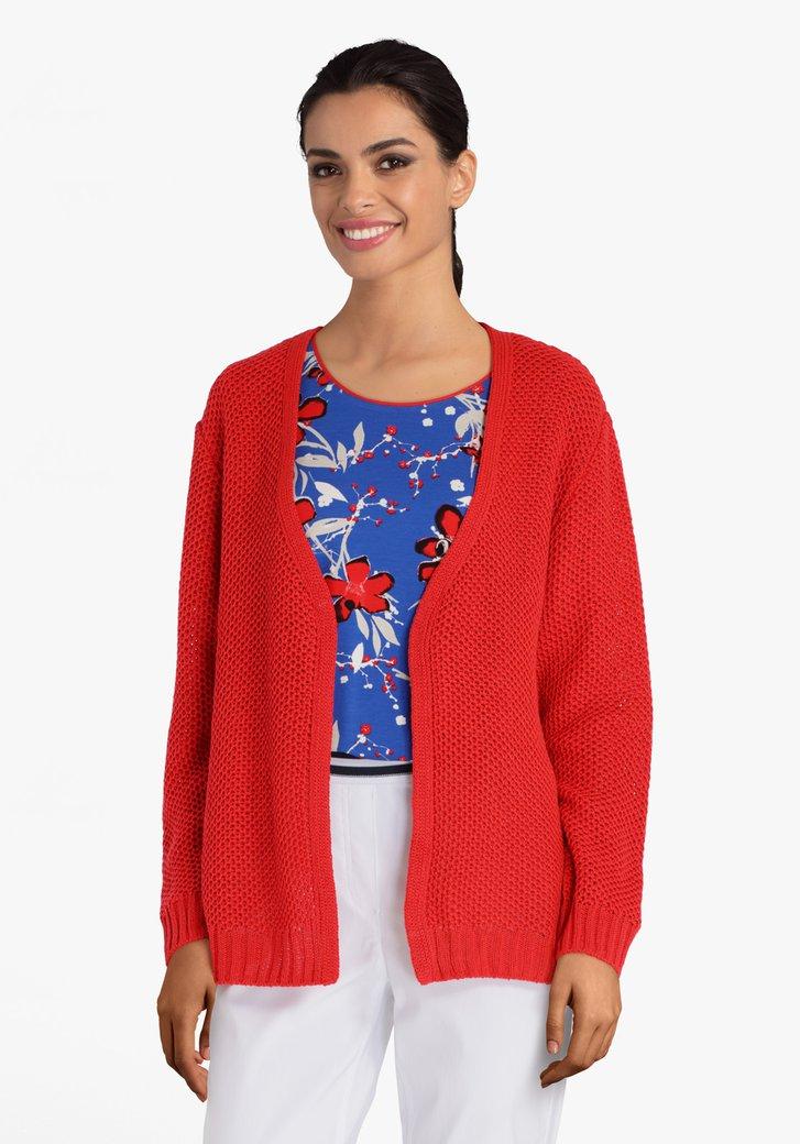 Cardigan rouge en tissu texturé
