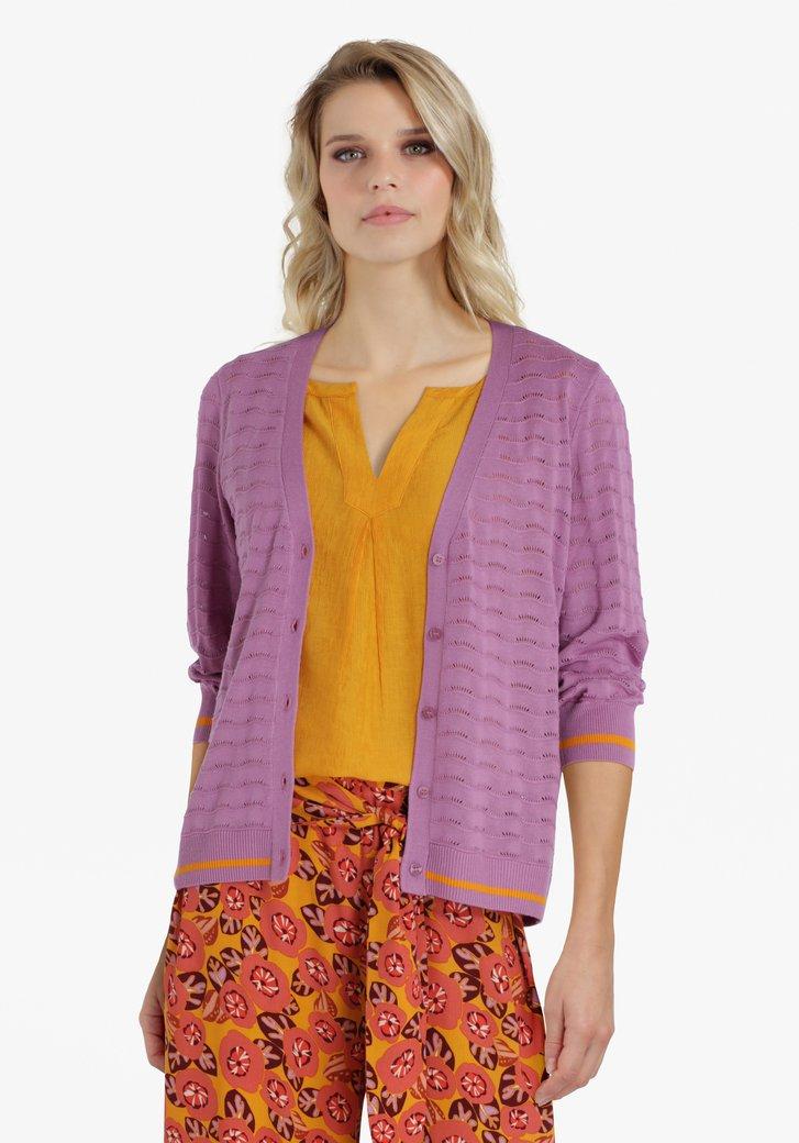 Cardigan texturé lilas