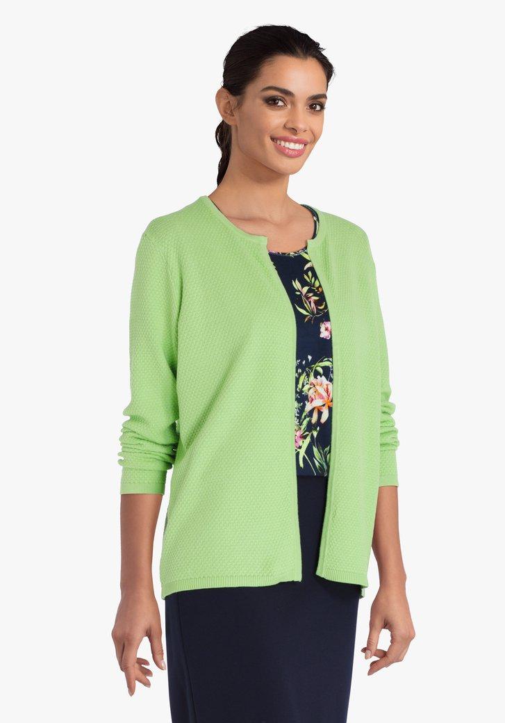 Cardigan texturé vert