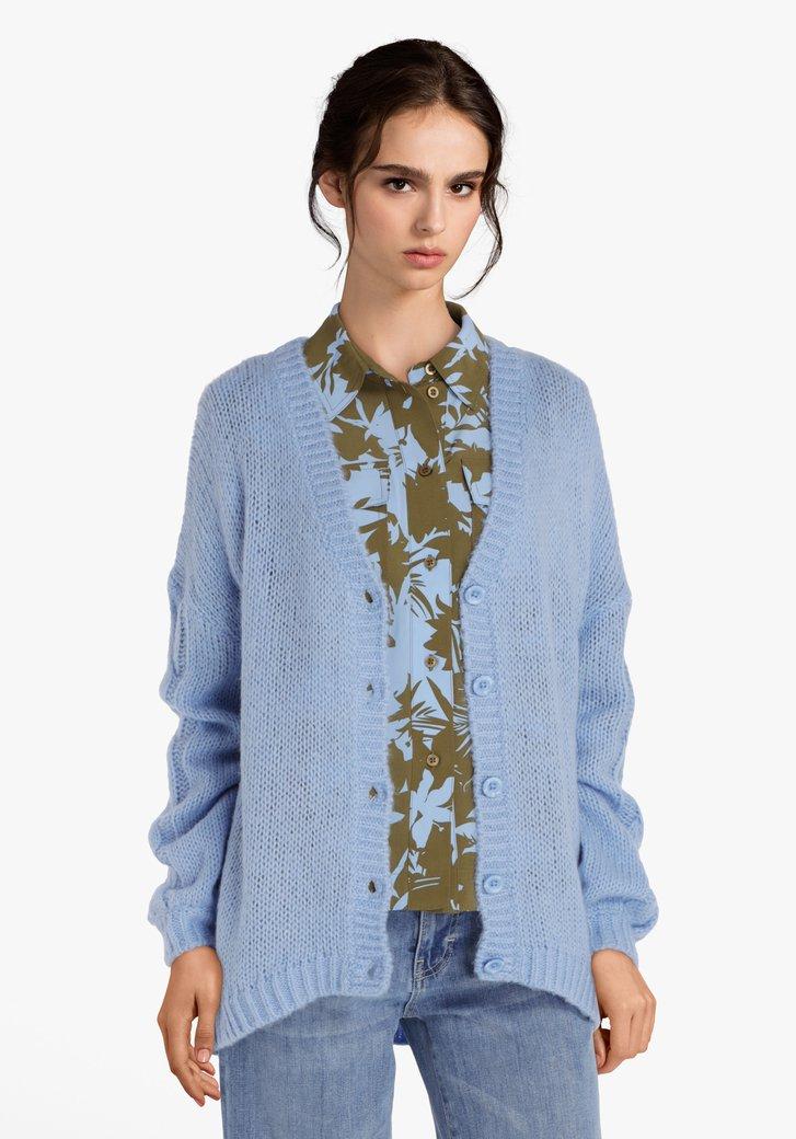 Cardigan tricoté bleu clair en laine et mohair