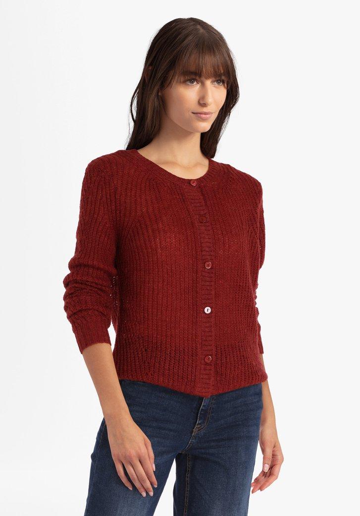 Cardigan tricoté brun rouge