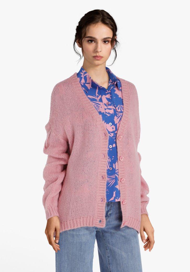 Cardigan tricoté rose en laine et mohair