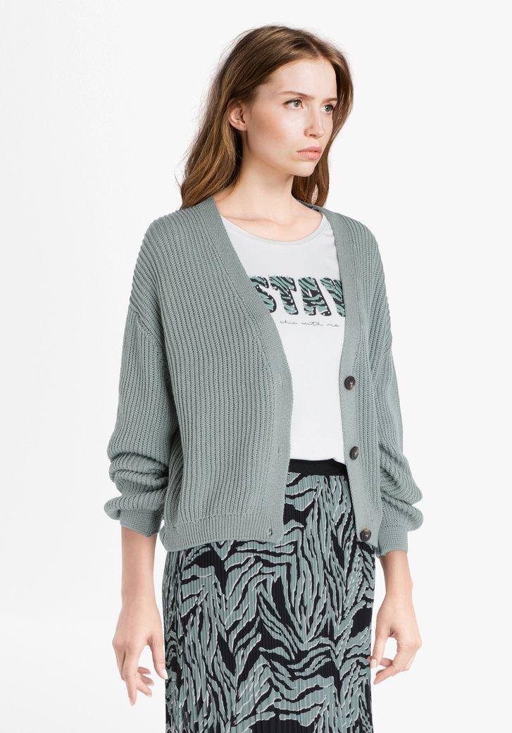 Cardigan tricoté vert clair