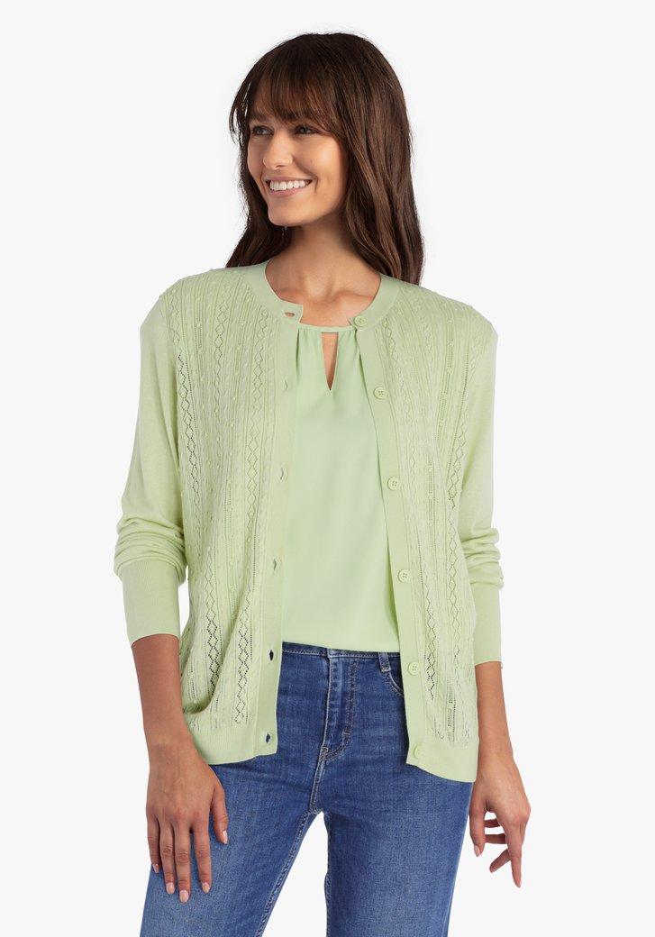 Cardigan vert clair texturé
