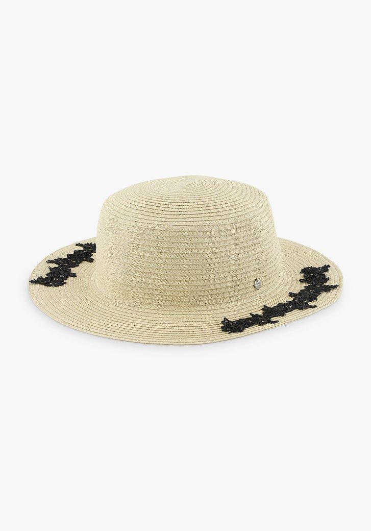 Chapeau beige avec détails de fleurs noires