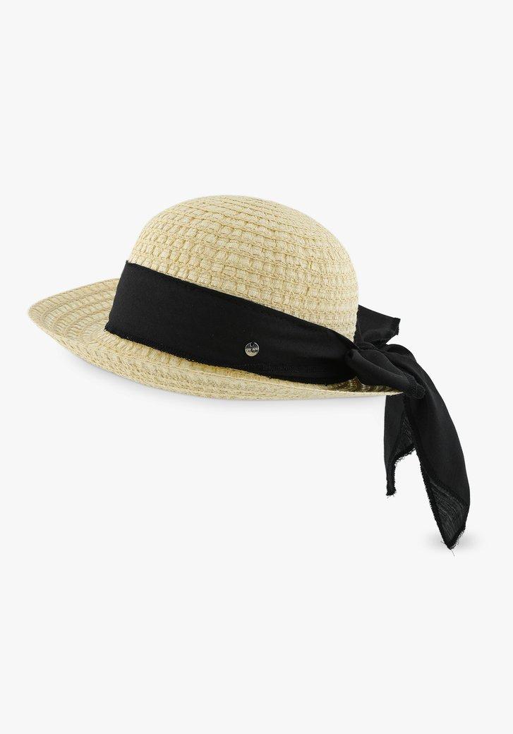 Chapeau beige avec nœud noir