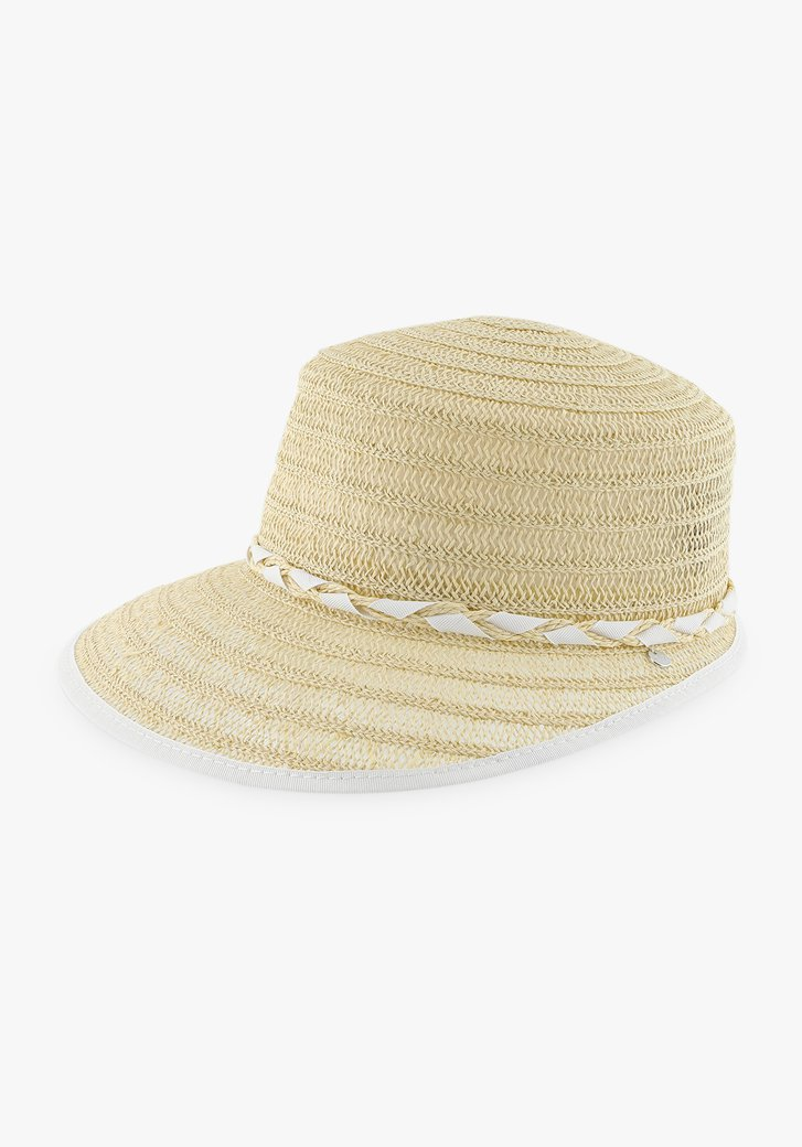 Chapeau beige avec tresse