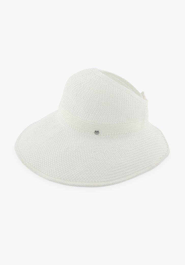 Chapeau blanc avec ouverture en haut et fermeture