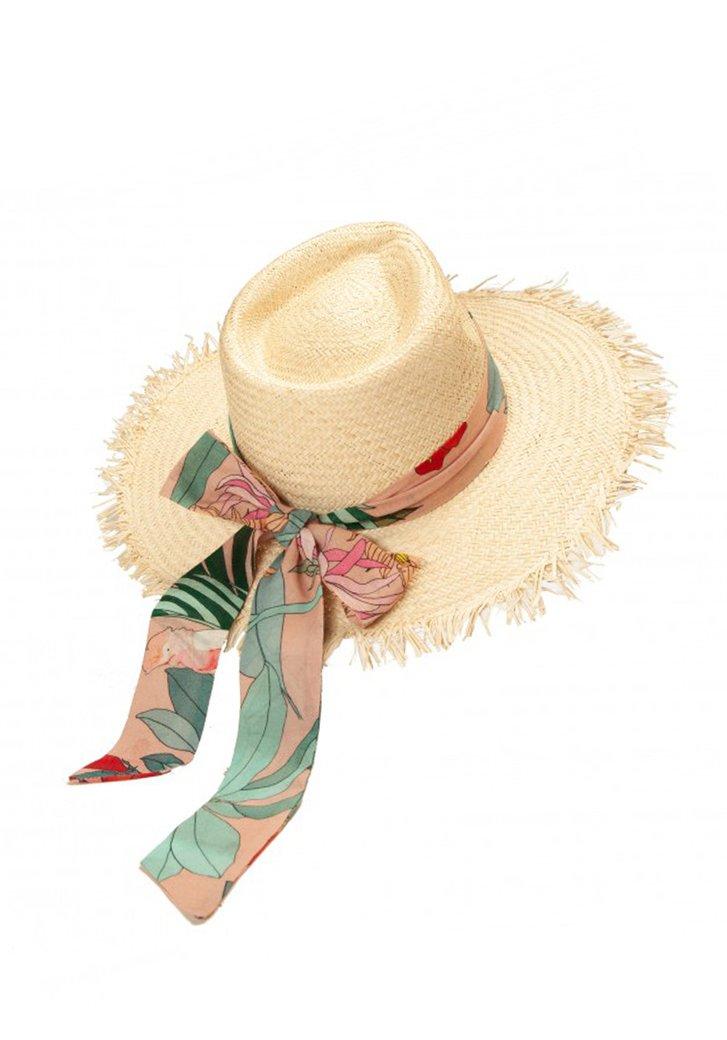 Chapeau de paille avec ruban à nœuds de couleur