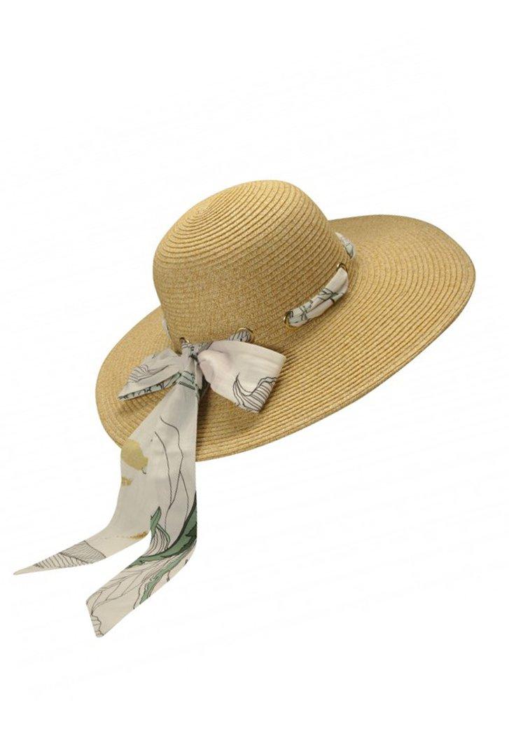 Chapeau de paille avec ruban beige à nœuds