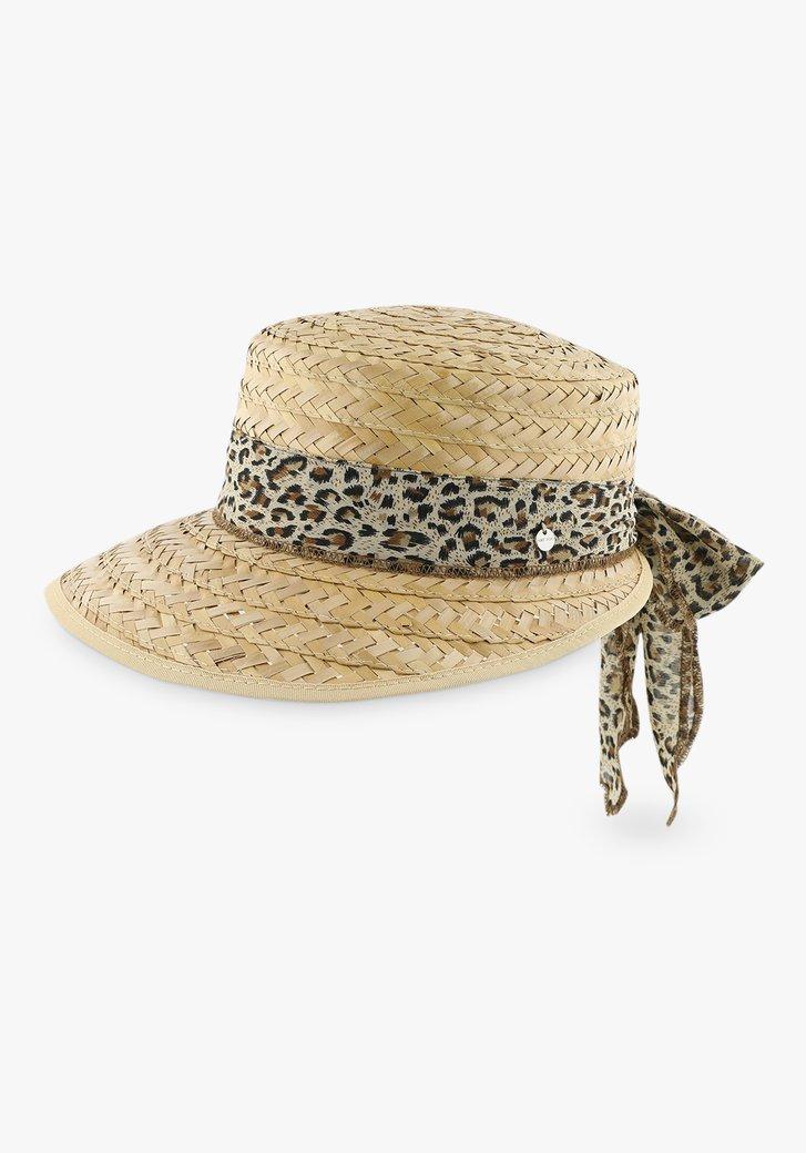 Chapeau marron avec ruban panthère